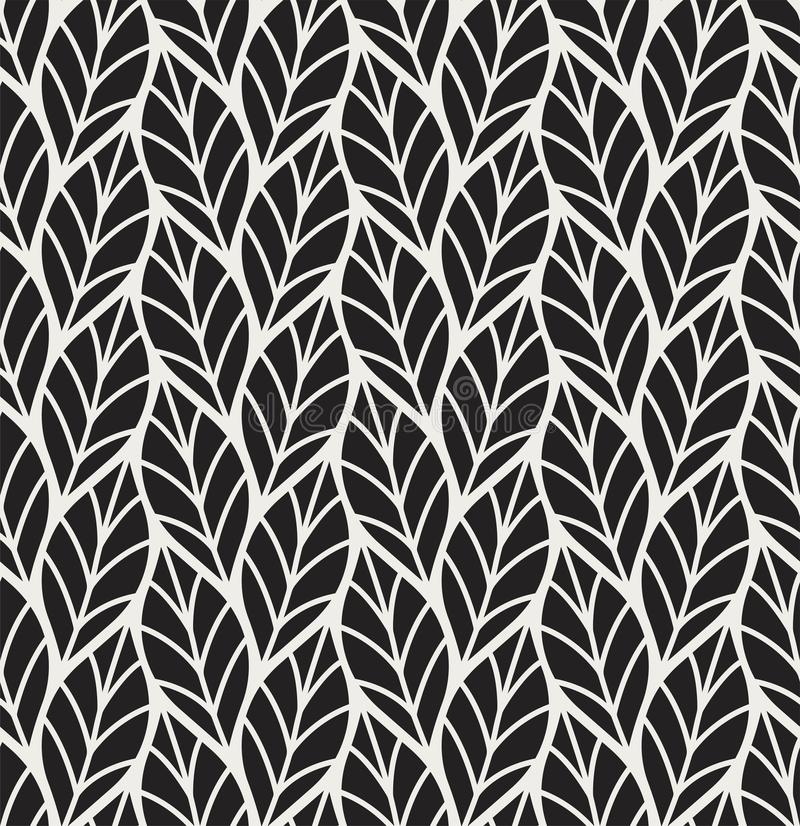 Vectorillustratie van bladeren naadloos patroon Bloemen organische achtergrond Hand getrokken bladtextuur stock illustratie