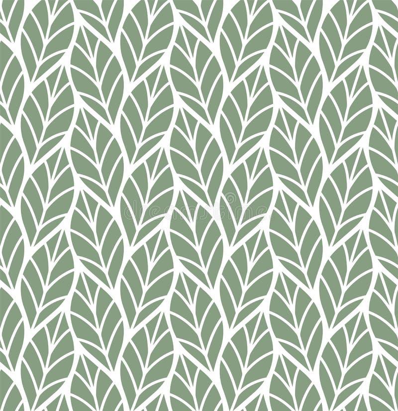 Vectorillustratie van bladeren naadloos patroon Bloemen organische achtergrond Hand getrokken bladtextuur royalty-vrije illustratie