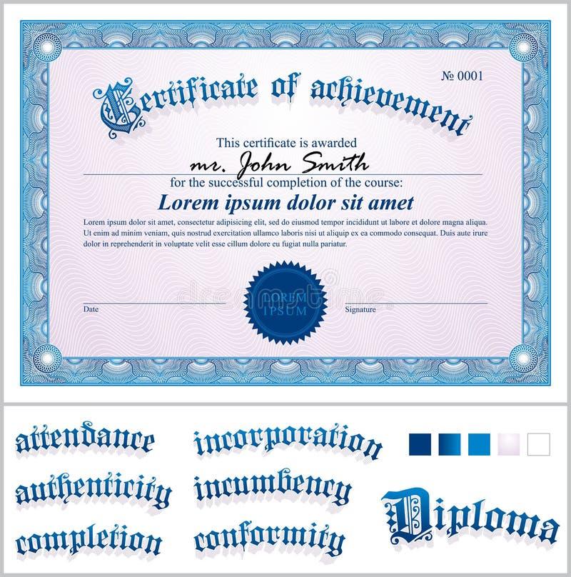 Vectorillustratie van blauw certificaat malplaatje vector illustratie