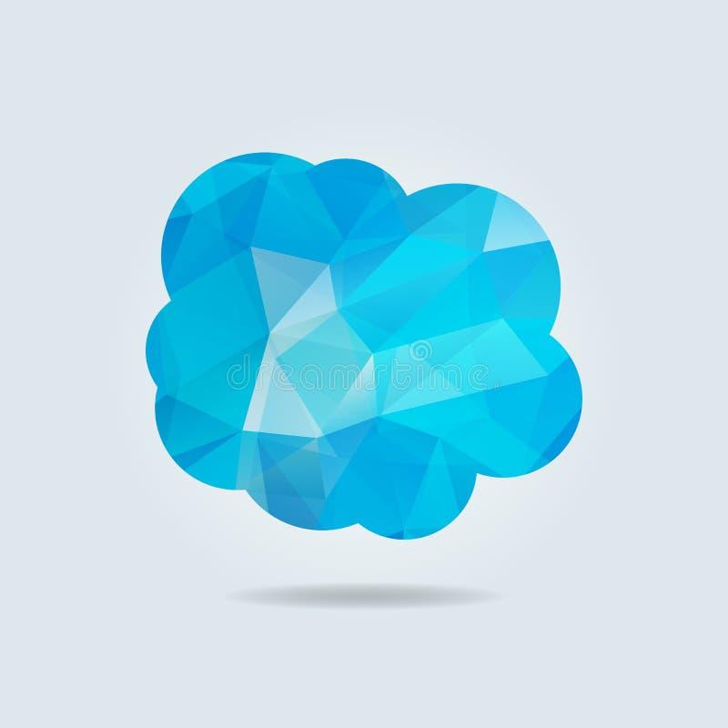 Vectorillustratie van blauwe driehoeksdocument wolk op grijze backgro royalty-vrije illustratie