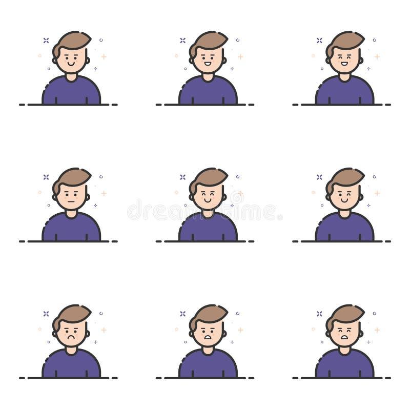 Vectorillustratie van blauwe pictogrammen in vlakke lijnstijl Grafisch ontwerpconcept Emoji en Avatar royalty-vrije illustratie