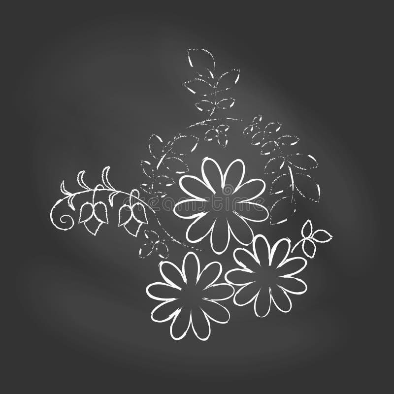 Vectorillustratie van bloem op bord stock illustratie
