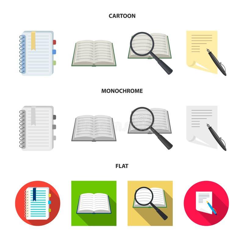 Vectorillustratie van boek en open pictogram Reeks van boek en potloodvoorraadsymbool voor Web stock illustratie