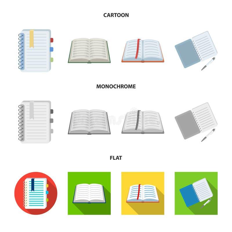 Vectorillustratie van boek en open teken Reeks van boek en potloodvoorraad vectorillustratie royalty-vrije illustratie