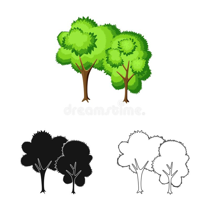 Vectorillustratie van boom en vergankelijk pictogram Inzameling van boom en groen voorraadsymbool voor Web vector illustratie