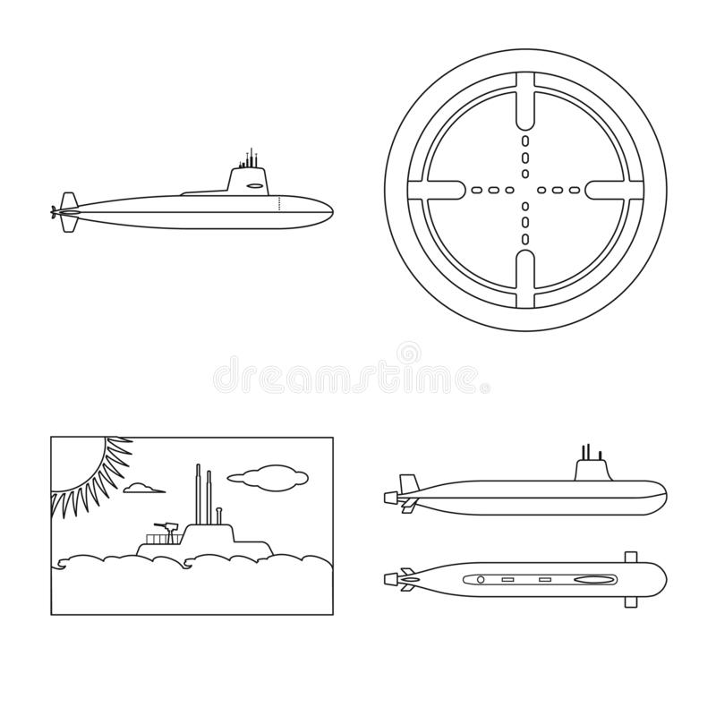 Vectorillustratie van boot en marinepictogram Inzameling van boot en diep vectorpictogram voor voorraad vector illustratie