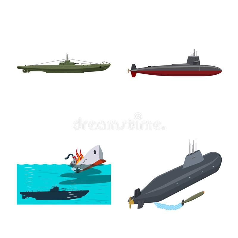 Vectorillustratie van boot en marinesymbool Inzameling van boot en diep vectorpictogram voor voorraad stock illustratie