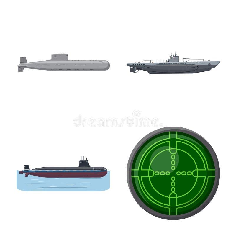 Vectorillustratie van boot en marinesymbool Inzameling van boot en diep voorraadsymbool voor Web royalty-vrije illustratie