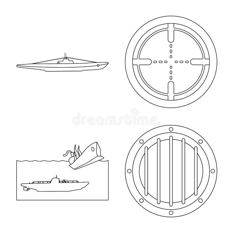 Vectorillustratie van boot en marinesymbool Inzameling van boot en diepe voorraad vectorillustratie stock illustratie