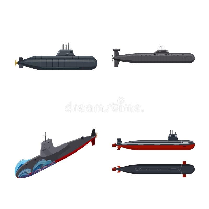 Vectorillustratie van boot en marinesymbool Reeks van boot en diepe voorraad vectorillustratie vector illustratie