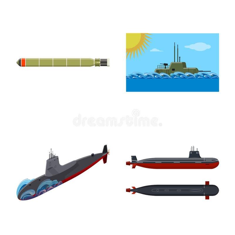 Vectorillustratie van boot en marineteken Inzameling van boot en diep vectorpictogram voor voorraad vector illustratie