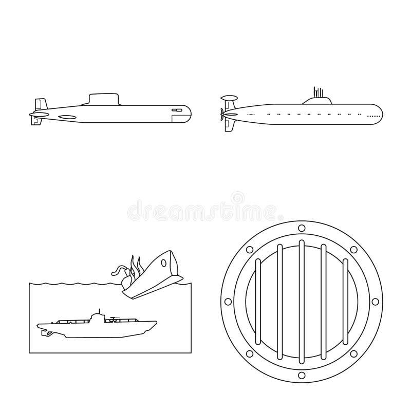 Vectorillustratie van boot en marineteken Inzameling van boot en diep vectorpictogram voor voorraad royalty-vrije illustratie