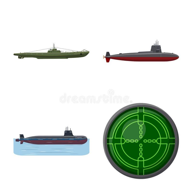 Vectorillustratie van boot en marineteken Inzameling van boot en diepe voorraad vectorillustratie stock illustratie