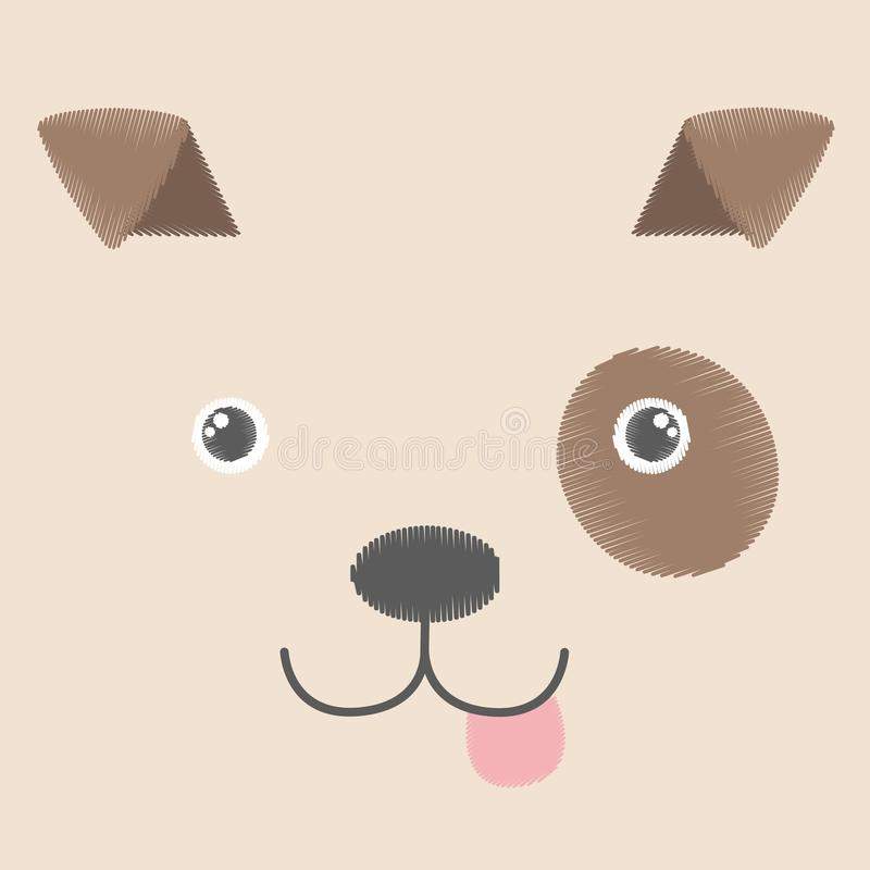 Vectorillustratie van borduurwerk van bruine stuk speelgoed hond Babykawaii anime het glimlachen puppy` s gezicht dat op een lege stock illustratie