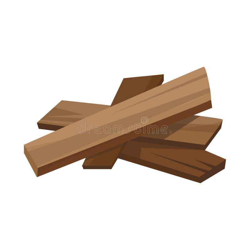 Vectorillustratie van brandhout en boomsymbool Reeks van brandhout en houten voorraadsymbool voor Web stock illustratie