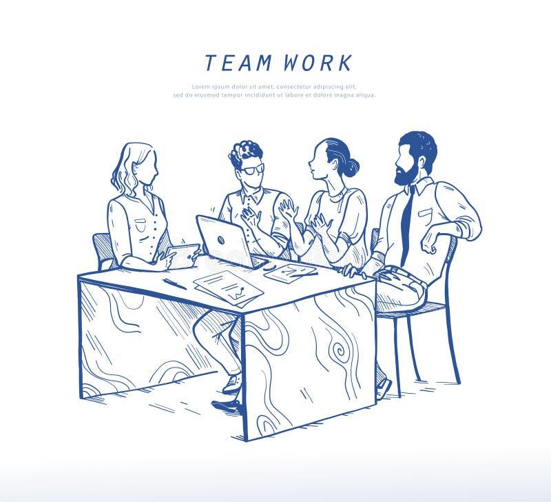 Vectorillustratie van bureaumensen die bij lijst, groepswerk, samenwerkingsconcept bespreken stock illustratie