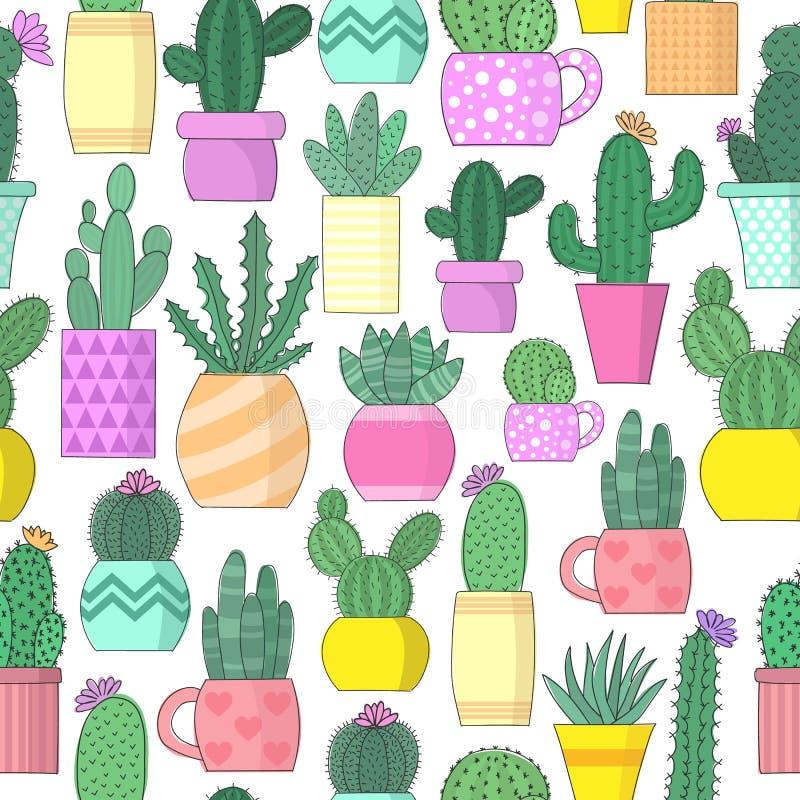 Vectorillustratie van cactussen in bloempotten Naadloos helder gekleurd patroon vector illustratie