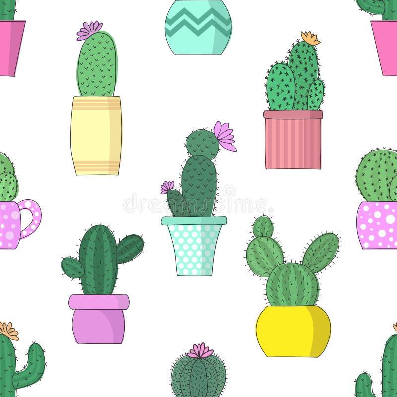 Vectorillustratie van cactussen in bloempotten Naadloos helder patroon vector illustratie