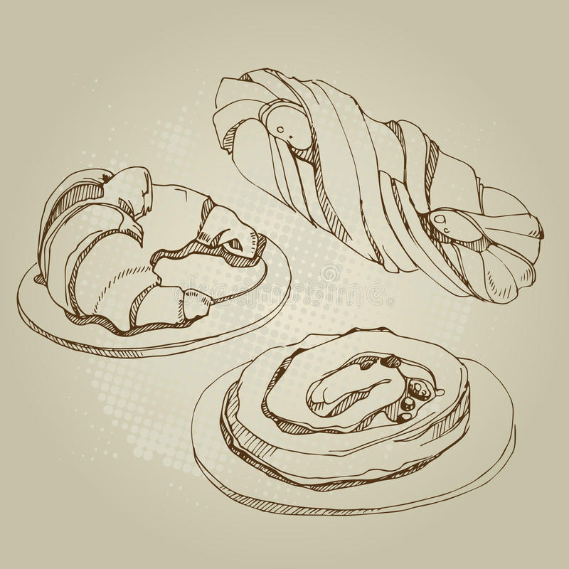 Vectorillustratie van cakes, broodje royalty-vrije stock fotografie