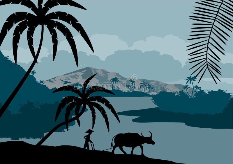 Vectorillustratie van China met buffels in het moerasland van het wildernisregenwoud stock illustratie