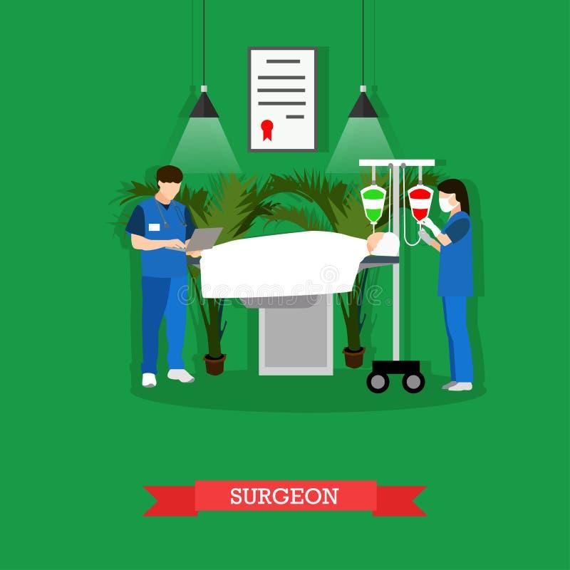 Vectorillustratie van chirurg, verpleegster en patiënt in werkende ruimte stock illustratie