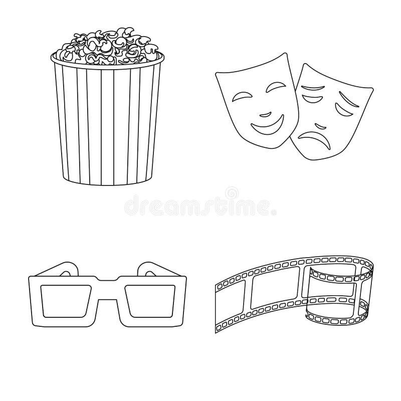 Vectorillustratie van cinematografie en studioembleem Inzameling van cinematografie en vermaakvoorraadsymbool voor royalty-vrije illustratie