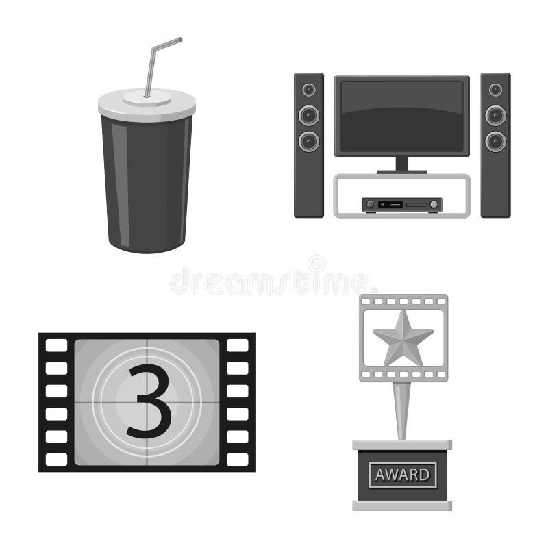 Vectorillustratie van cinematografie en studiopictogram Inzameling van cinematografie en filmvoorraadvector stock illustratie