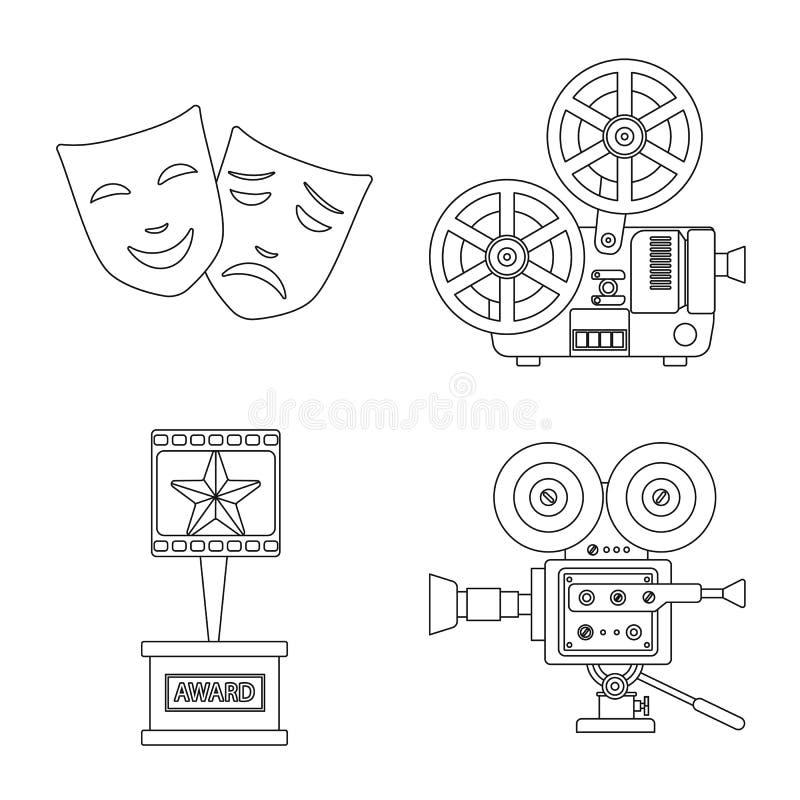 Vectorillustratie van cinematografie en studiopictogram Reeks van cinematografie en vermaakvoorraadsymbool voor Web royalty-vrije illustratie