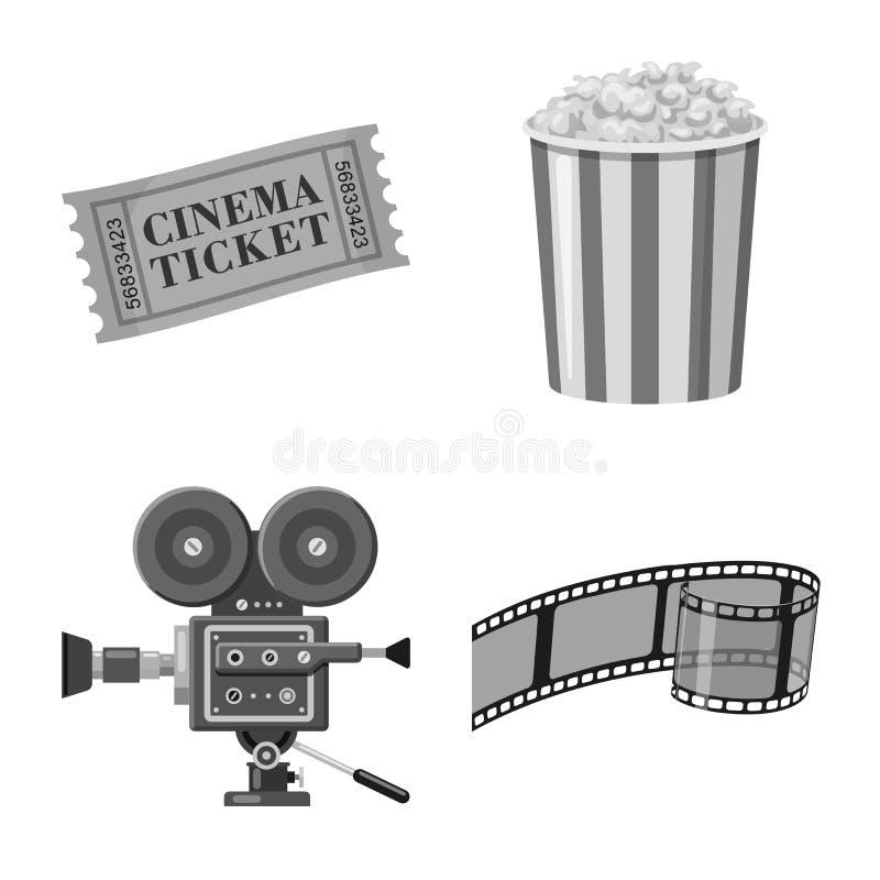 Vectorillustratie van cinematografie en studiosymbool Inzameling van cinematografie en filmvoorraadsymbool voor Web vector illustratie