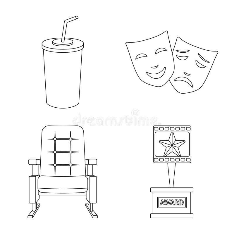 Vectorillustratie van cinematografie en studiosymbool Inzameling van cinematografie en vermaak vectorpictogram voor stock illustratie