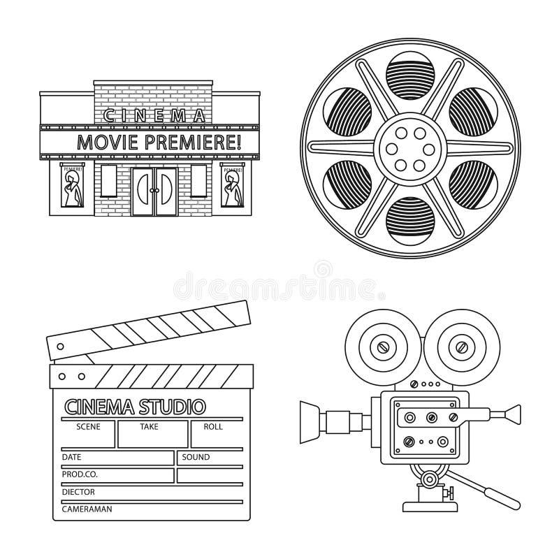 Vectorillustratie van cinematografie en studiosymbool Reeks van cinematografie en vermaakvoorraadsymbool voor Web vector illustratie