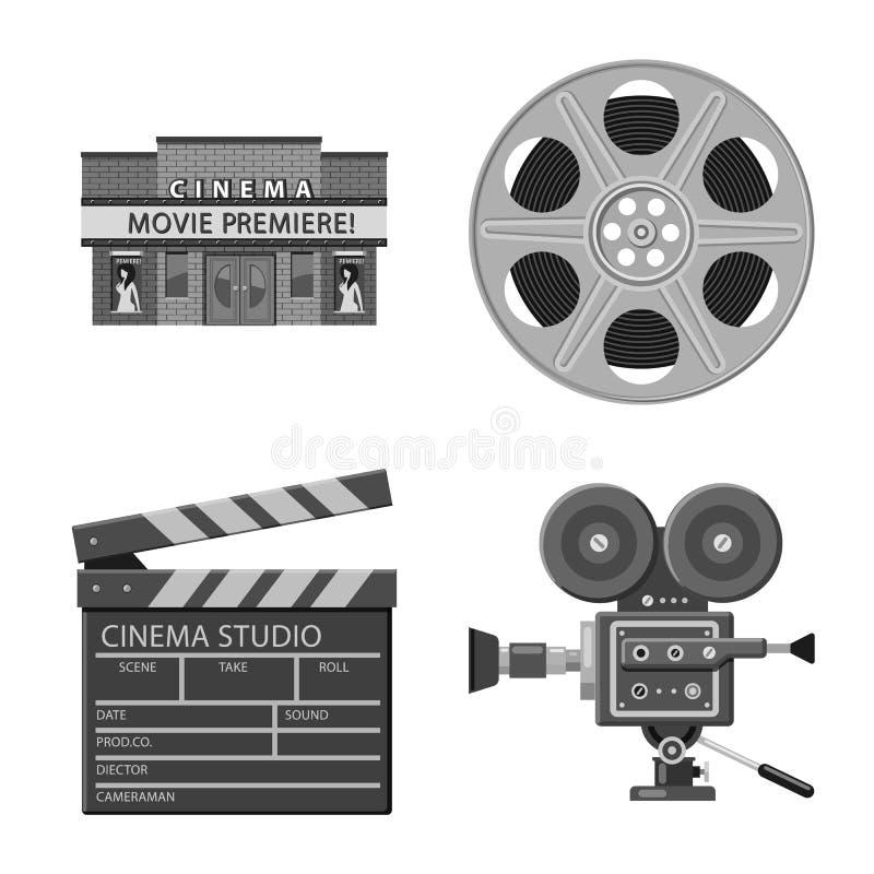 Vectorillustratie van cinematografie en studioteken Inzameling van cinematografie en filmvoorraadvector vector illustratie