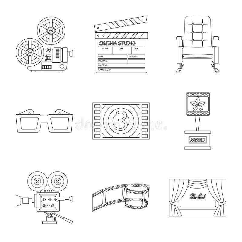 Vectorillustratie van cinematografie en studioteken Inzameling van cinematografie en vermaakvoorraadsymbool voor vector illustratie