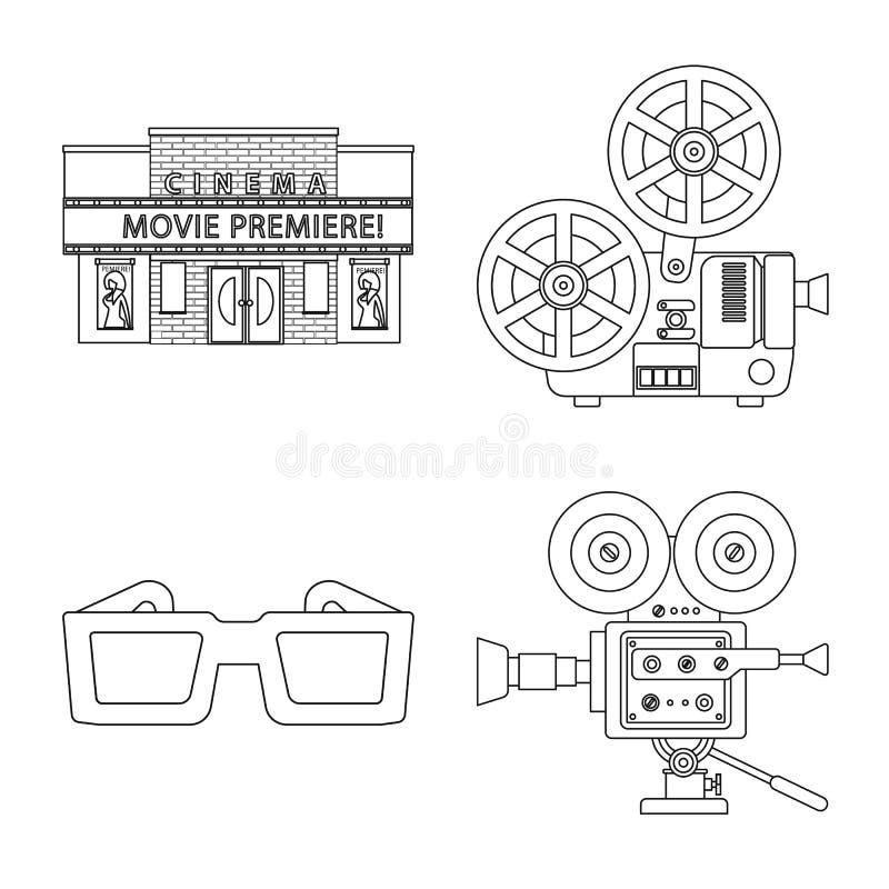 Vectorillustratie van cinematografie en studioteken Inzameling van cinematografie en vermaakvoorraadsymbool voor royalty-vrije illustratie