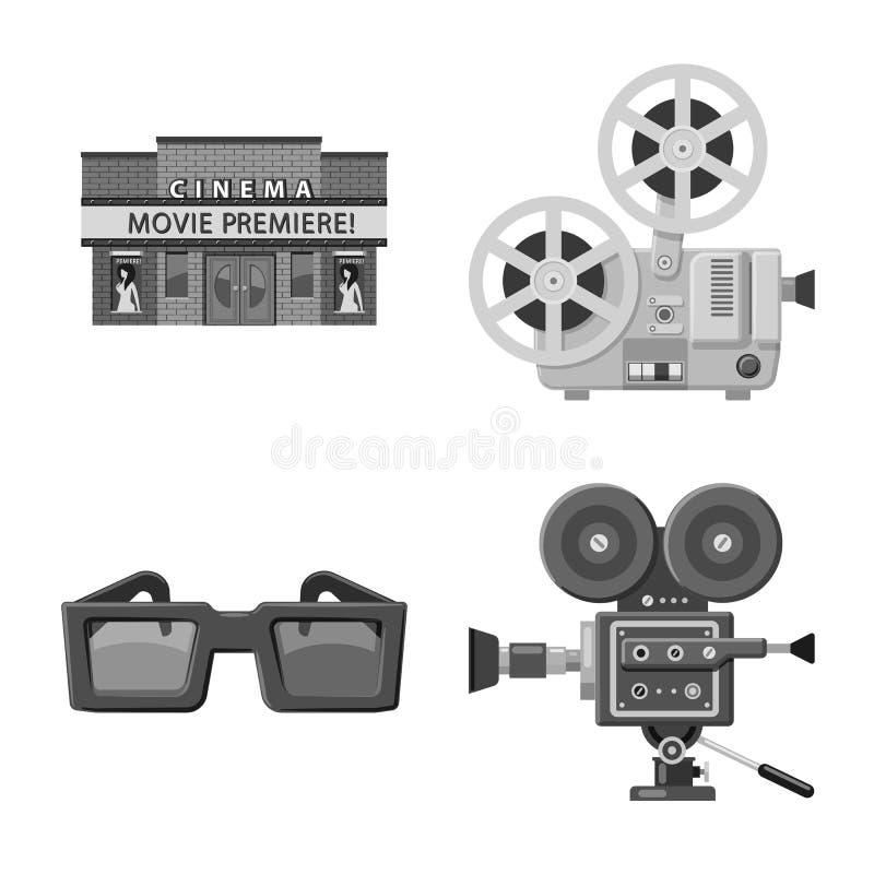 Vectorillustratie van cinematografie en studioteken Reeks van cinematografie en film vectorpictogram voor voorraad stock illustratie
