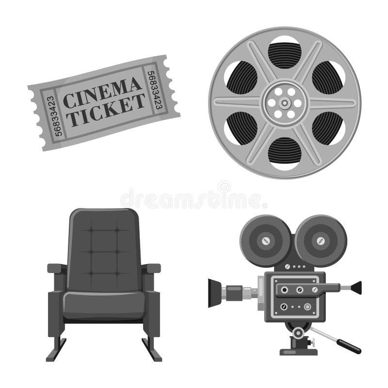 Vectorillustratie van cinematografie en studioteken Reeks van cinematografie en film vectorpictogram voor voorraad royalty-vrije illustratie