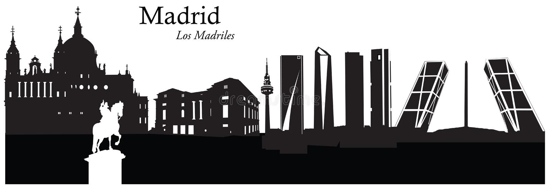 Vectorillustratie van cityscape horizon van Madrid, Spanje vector illustratie