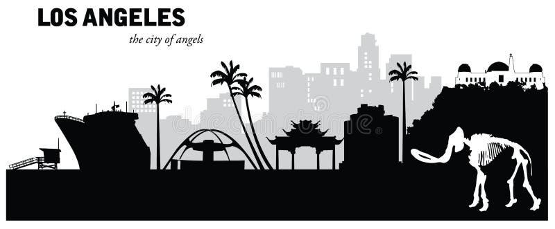 Vectorillustratie van cityscape van Los Angeles Californië horizon vector illustratie