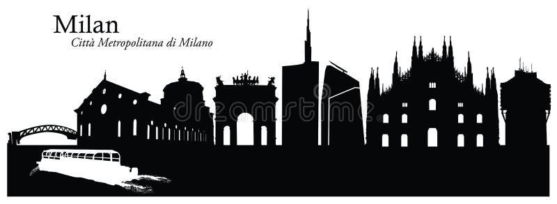 Vectorillustratie van cityscape van Milaan horizon