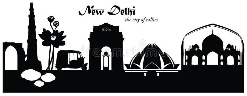 Vectorillustratie van cityscape van New Delhi horizon royalty-vrije illustratie