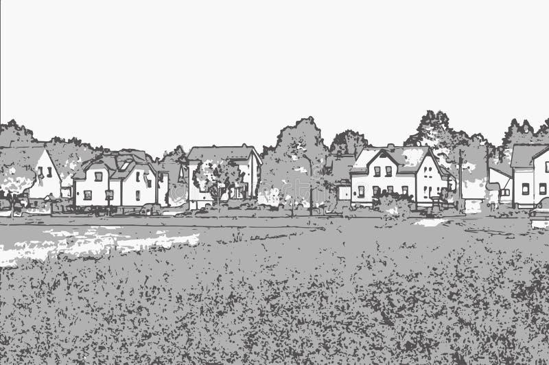 Vectorillustratie van cityscape in zwart-witte tonen stock foto