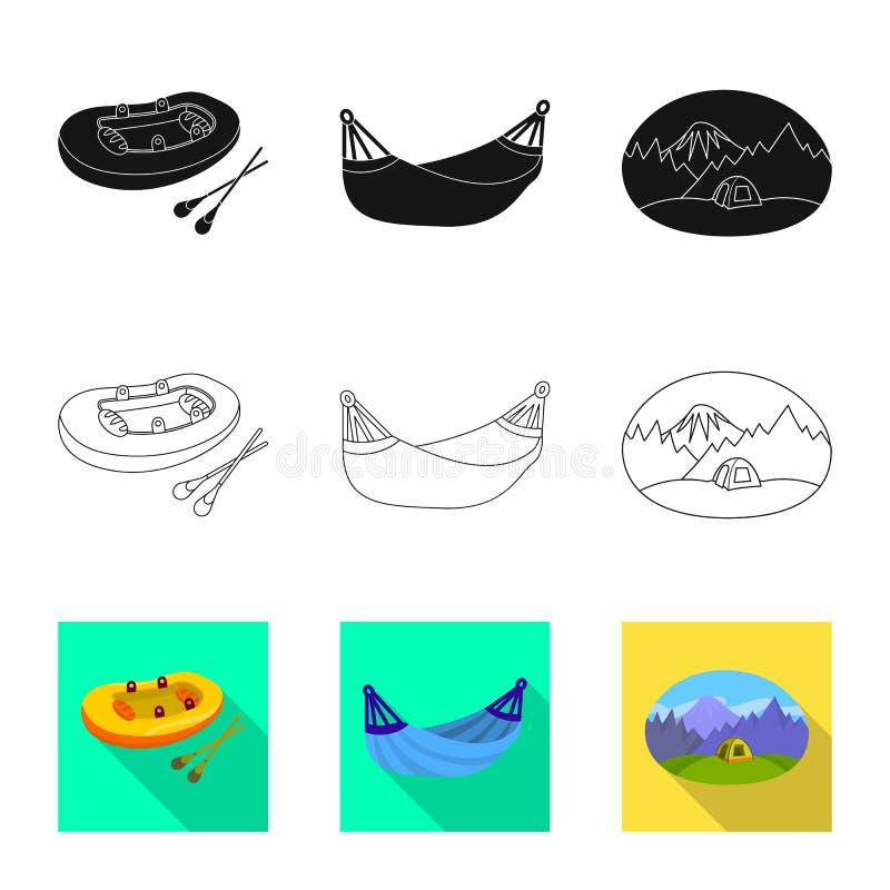 Vectorillustratie van cookout en het wildembleem Inzameling van cookout en rust vectorpictogram voor voorraad royalty-vrije illustratie