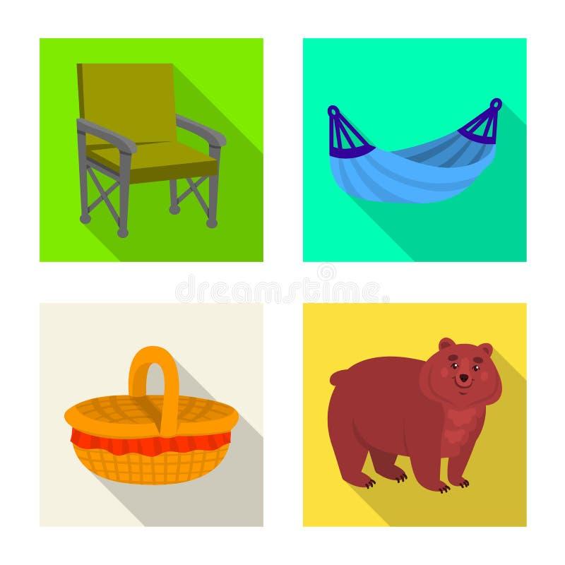 Vectorillustratie van cookout en het wildembleem Reeks van cookout en rust vectorpictogram voor voorraad stock illustratie