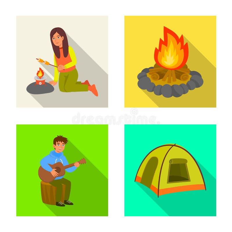 Vectorillustratie van cookout en het wildsymbool Inzameling van cookout en rust voorraad vectorillustratie stock illustratie