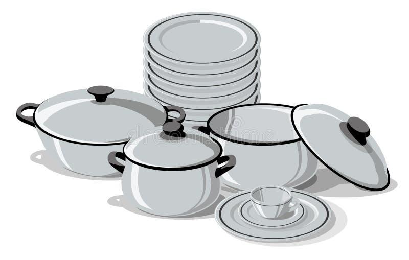 Vectorillustratie van Cookware, Schotels en Pannen toguether vector illustratie