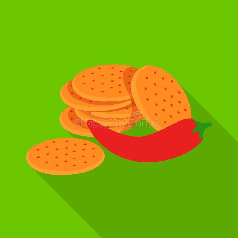 Vectorillustratie van cracker en koekjespictogram Inzameling van cracker en rode voorraad vectorillustratie vector illustratie