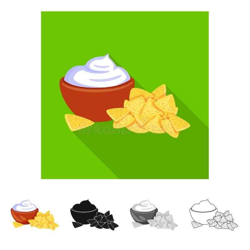 Vectorillustratie van cracker en koekjespictogram Inzameling van cracker en roomvoorraadsymbool voor Web royalty-vrije illustratie