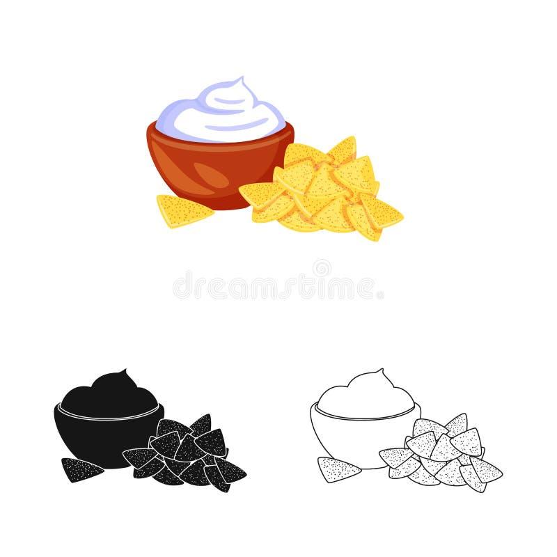 Vectorillustratie van cracker en koekjesteken Inzameling van cracker en roomvoorraadsymbool voor Web vector illustratie
