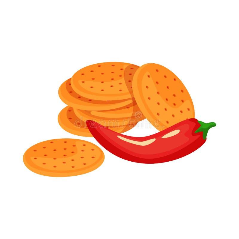 Vectorillustratie van cracker en koekjesteken Reeks van cracker en rode voorraad vectorillustratie stock illustratie