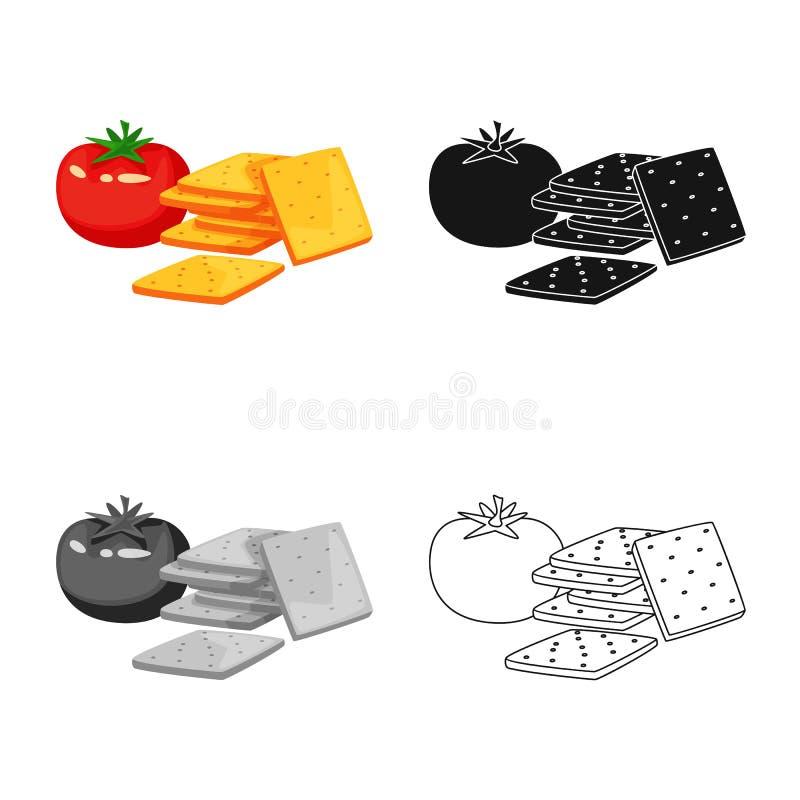 Vectorillustratie van cracker en tomatenpictogram Inzameling van cracker en het symbool van de landbouwvoorraad voor Web vector illustratie